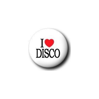 Badge : I love disco (blanc)