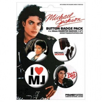 Lot de 4 badges - Michael Jackson (38 mm)