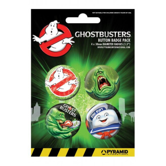 Lot de 4 badges SOS Fantômes - Ghostbusters (38 mm)