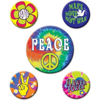 Lot de 5 badges - Hippie - Années 60