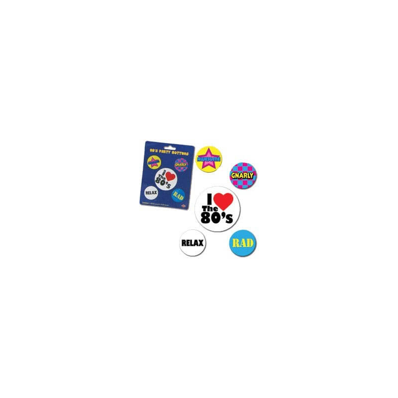 Lot de 5 badges - Party 80's