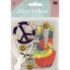 """Stickers en relief pour scrapbooking - """"70's peace and love"""""""