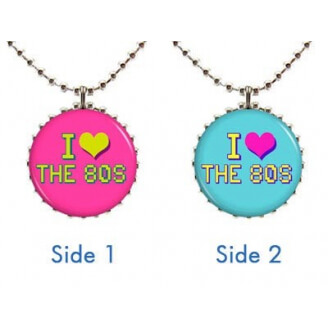 "Collier : ""I love the 80's"" à deux faces (bleu et rose)"