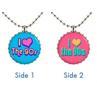 "Collier : ""I love the 90's"" à deux faces (bleu et rose)"