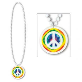 Collier blanc - Peace and Love