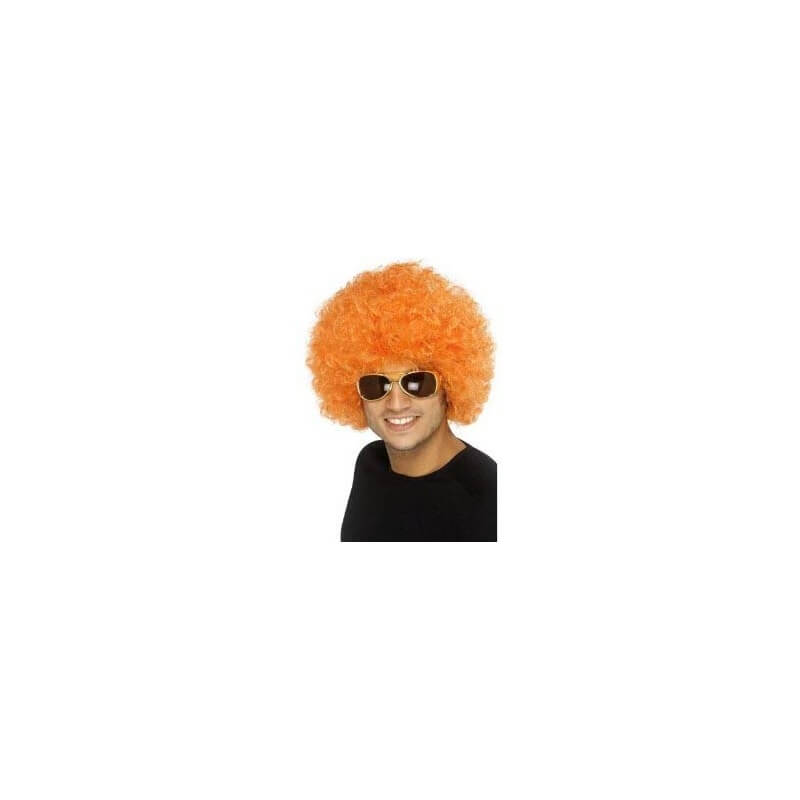 Perruque Afro Disco - orange - années 80 (taille moyenne)