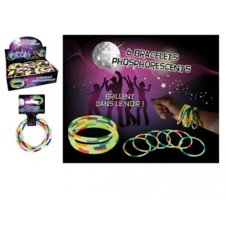 Lot de 6 bracelets FLUO phosphorescents