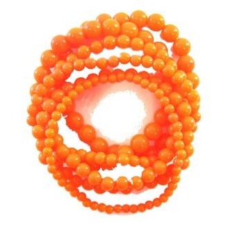 Lot de 6 bracelets orange fluo