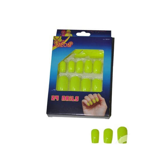 Lot de 24 faux ongles - Jaune fluo
