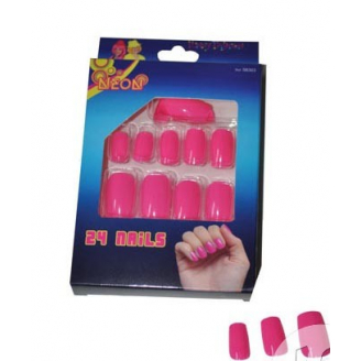 Lot de 24 faux ongles - Rose fluo