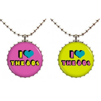"Collier : ""I love the 80's"" à deux faces (violet et vert)"