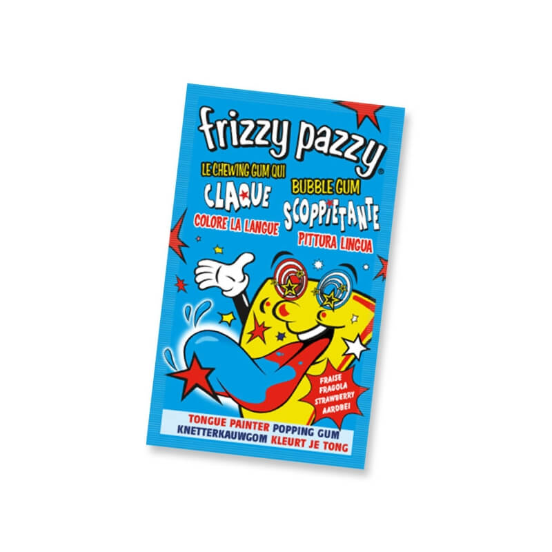 Chewing-gum : Frizzy Pazzy (Fraise colore la langue)