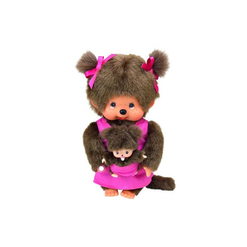 peluche kiki monchhichi maman et son b b. Black Bedroom Furniture Sets. Home Design Ideas