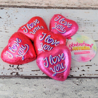 Coeur au chocolat - I Love You - Lot de 5